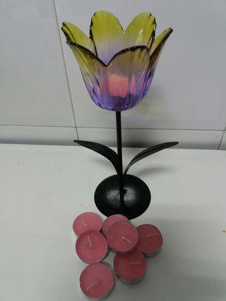 Portavelas con 7 velas aromaticas de rosa