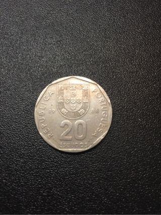 Moneda 20 escudos 1988