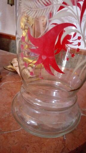 Jarron de cristal pintado a mano, años 50