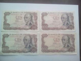 4 billetes de 100 pesetas. manuel falla . nuevos