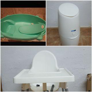 Trío bañera, papelera de pañales y trona Ikea
