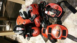 patines, protecciones y casco rayo mcqueen