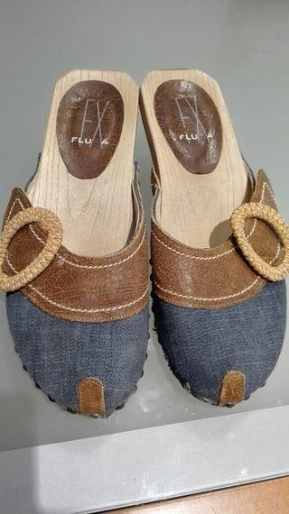 Sandalias Jeans con Cuero