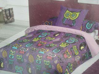 Funda nórdica búhos cama morada
