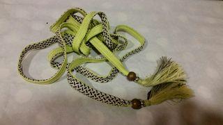 cinturon etnico amarillo flecos