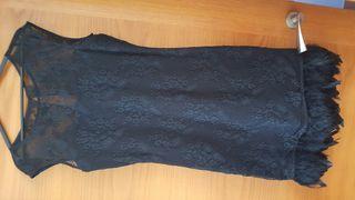 vestido negro de encaje talla l