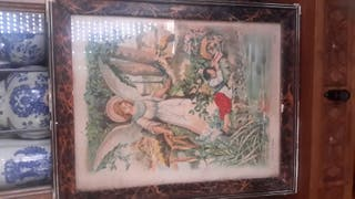 cuadro antiguo del Angel de la Guarda