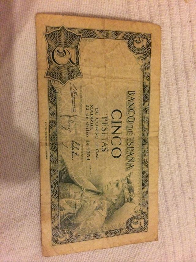 Billete 5 pesetas de 1954 de segunda mano en Madrid en WALLAPOP