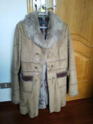abrigo de pelo y ante talla m marron
