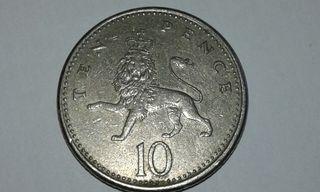 moneda 10 peniques 1992
