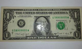 billete 1$ estadounidense