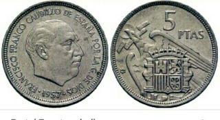 moneda de 5 pesetas del 57