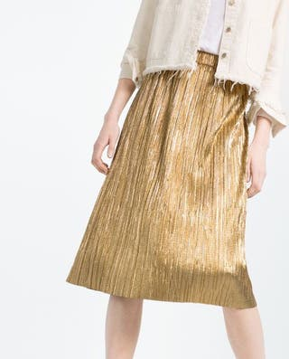 Falda plisada metalizada ZARA