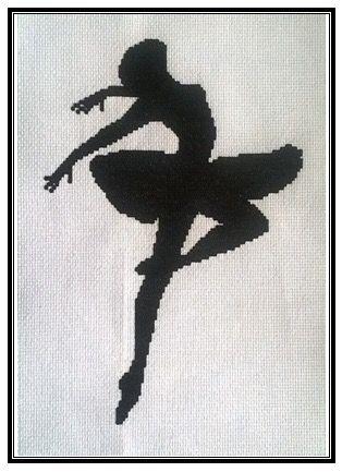 """Bordado en punto de cruz """"bailarina 3""""."""