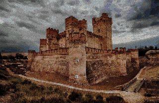 """Grafico punto de cruz """"Castillo de la Mota""""."""