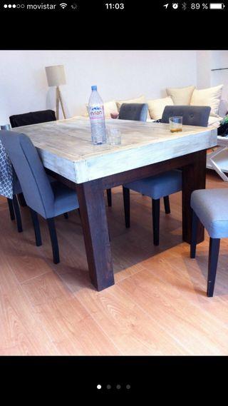 Mesa grande madera maciza de segunda mano por 150 en for Wallapop mesas