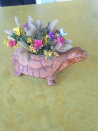 Tortuga con flores