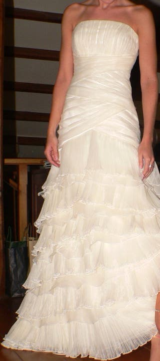 vestido de novia rosa clara de segunda mano en san sebastián de los