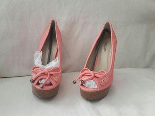 zapatos tacon modernos verano coral muy nuevo
