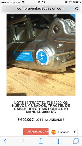 Lote 6 tractel T35 3000kg regaló cable
