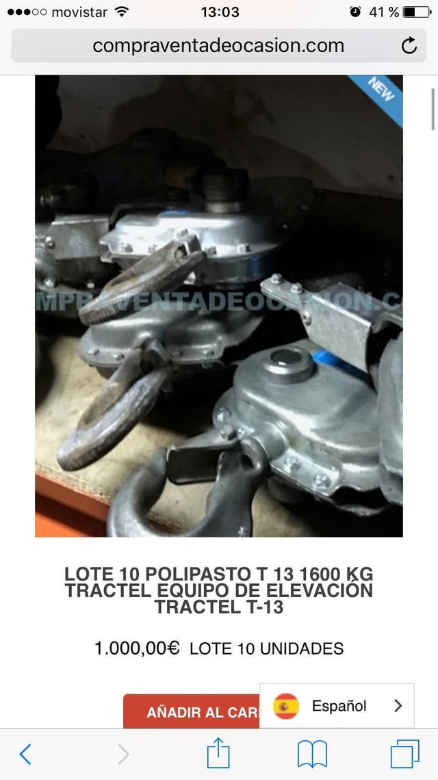 Lote 10 polipasto tractel T13 1600kg varios lotes