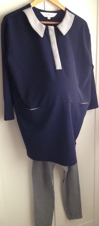 Vestido premamá corto crepé marino/gris. M/L. TM