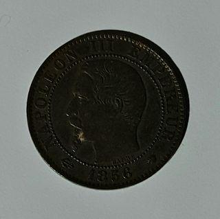 Moneda 5 céntimos francesa Napoleón III 1856