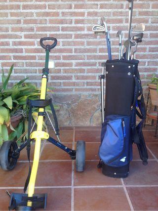 Carro y palos de golf para niño