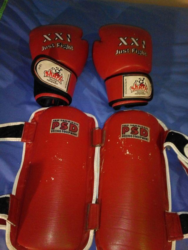 Guantes y espinilleras. Equipación kick boxing