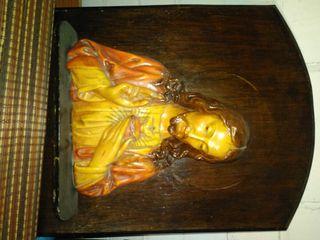 Busto Jesus corazon madera