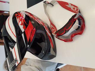 Casco moto Enduro Cross y gafas