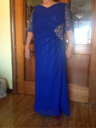 Vestido De Ceremonia Talla 46 Azul Eléctrico