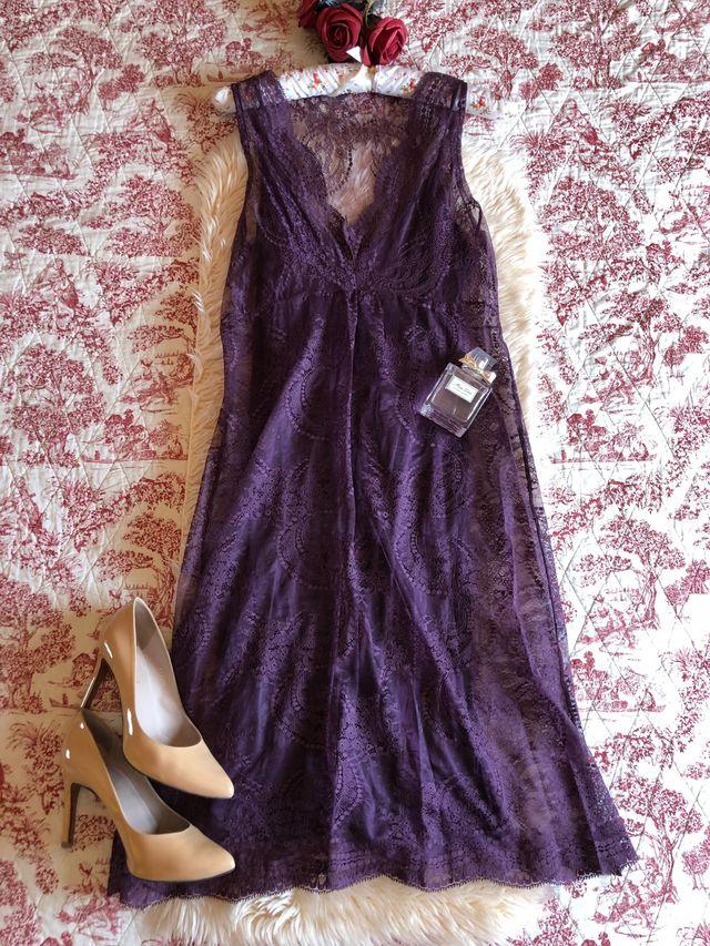 Zara vestido Collection encaje morado cóctel Fiesta de segunda mano ...