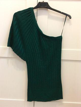 Camiseta top verde brillo Berska