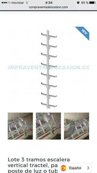 Escalera tractel aluminio paredes carril guía peld