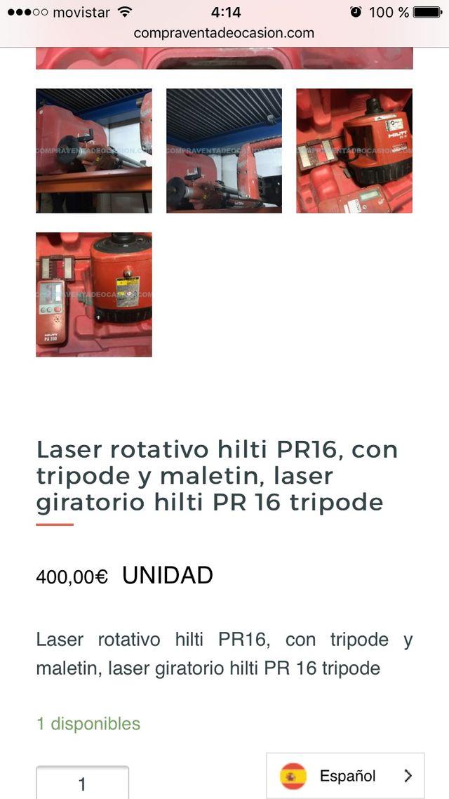 Laser rotativo hilti pr16 con trípode ocasión