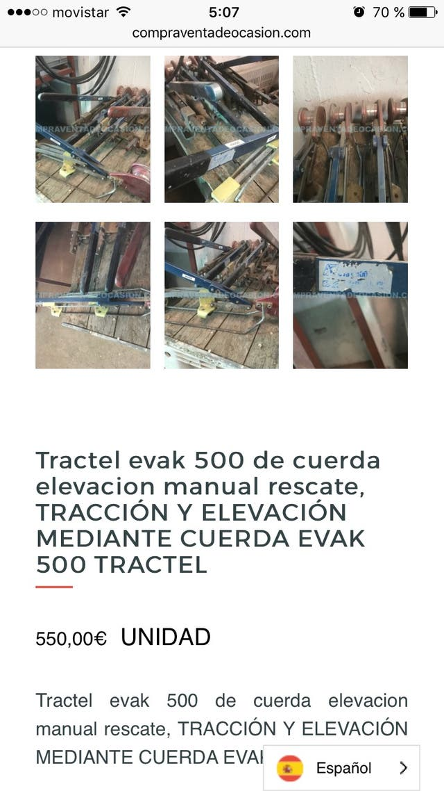 Tractel evak 500 de cuerda rescate salvamento