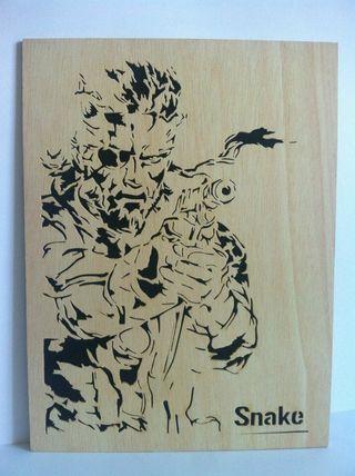 Solid snake cuadro de madera calado con sierra