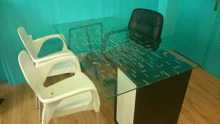 mesa escritorio d cristal