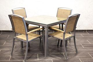 Mesa madera y aluminio