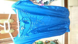 vestido azul ecletrico precioso nuevo de blanco