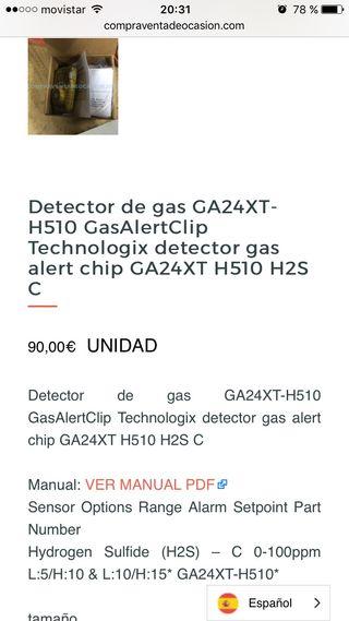 Detector de gas GA24XT-H510 Gas Alert Clip gas