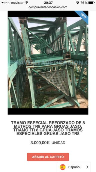 Tramo especial reforzado de 8 metros TR8 jaso grúa
