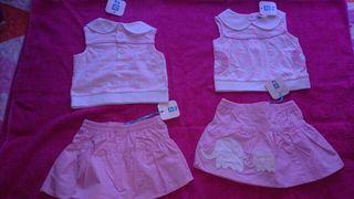 Traje bebe rosa/blanco niña tuc tuc 3m y 6m