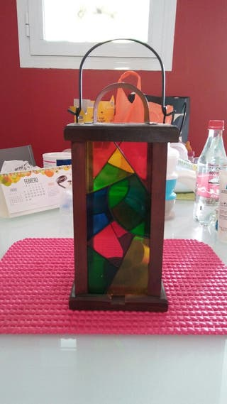 Farol de cristal y madera