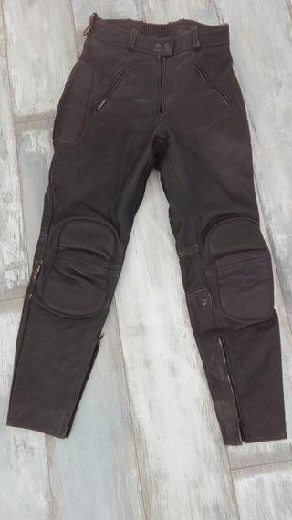 Pantalones de piel vintage para moto
