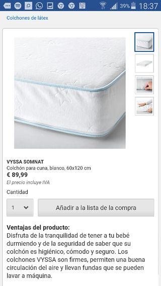 Valdemoro Ikea Colchon De 50 Cuna € Vyssa Por Segunda Somnat Mano En lJcTKF13
