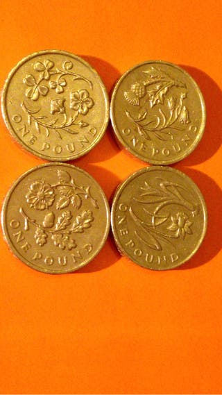 1 pound coin flowers 4 x .