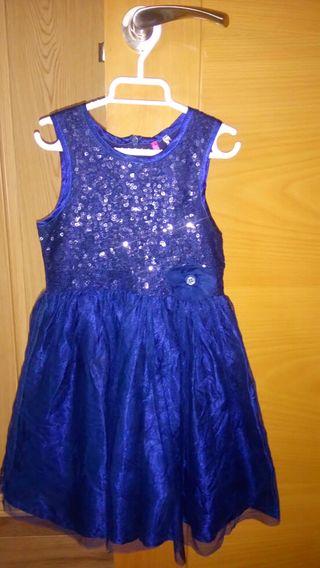 Vestido fiesta azul grisaceo