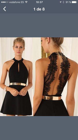 Vestido negro nuevo raso